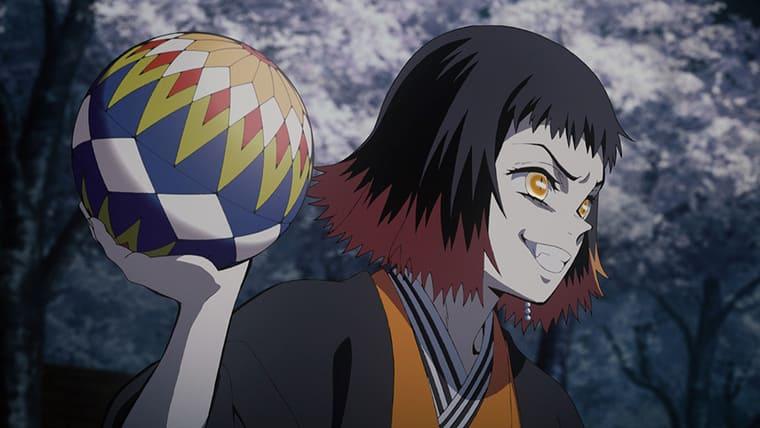 鬼滅の刃のアニメ第9話 手毬鬼「朱紗丸」と矢印鬼「矢琶羽」
