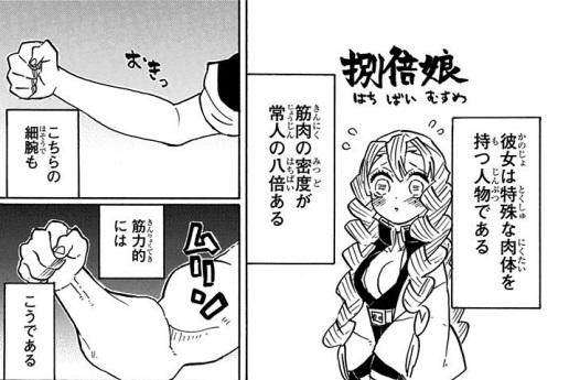 甘露寺蜜璃の特異体質「捌倍娘」:筋繊維は常人の8倍
