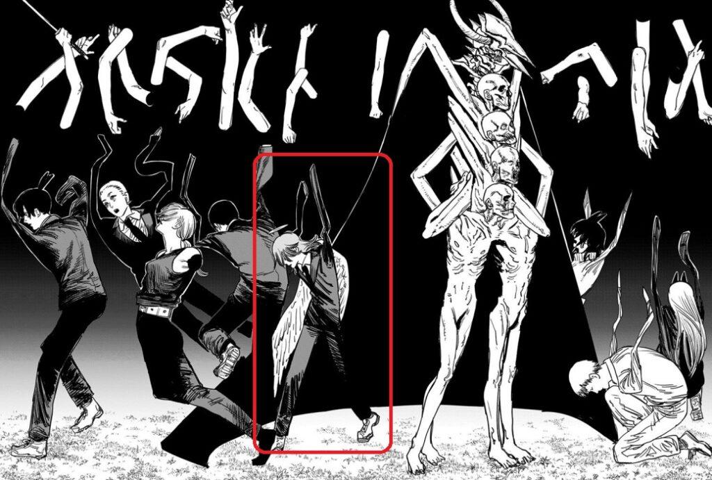 チェンソーマンの天使の悪魔が闇の悪魔との戦いで両腕を切断(8巻の第64話)