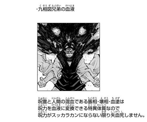 呪胎九相図の兄弟は呪力を血液に変換できる