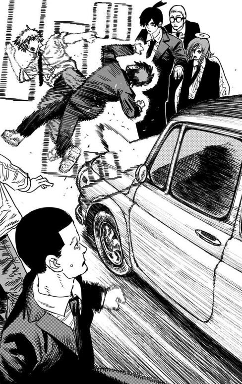 パワーが無免許運転で敵デビルハンター(とデンジ)を轢き殺す(7巻の第57話)