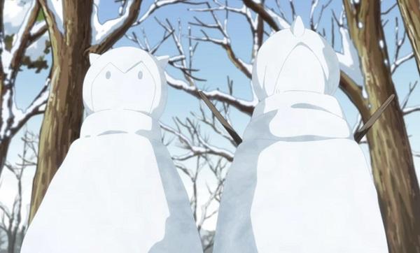 自身とソウエイの雪だるまを作る